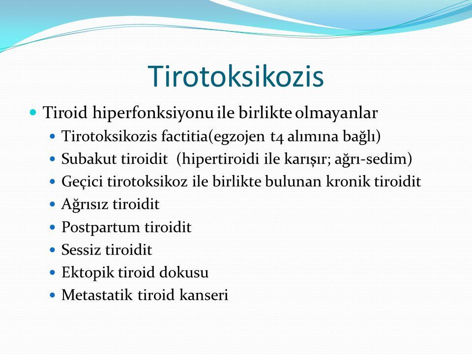 Tirotoksikozis Tiroid hiperfonksiyonu ile birlikte olmayanlar