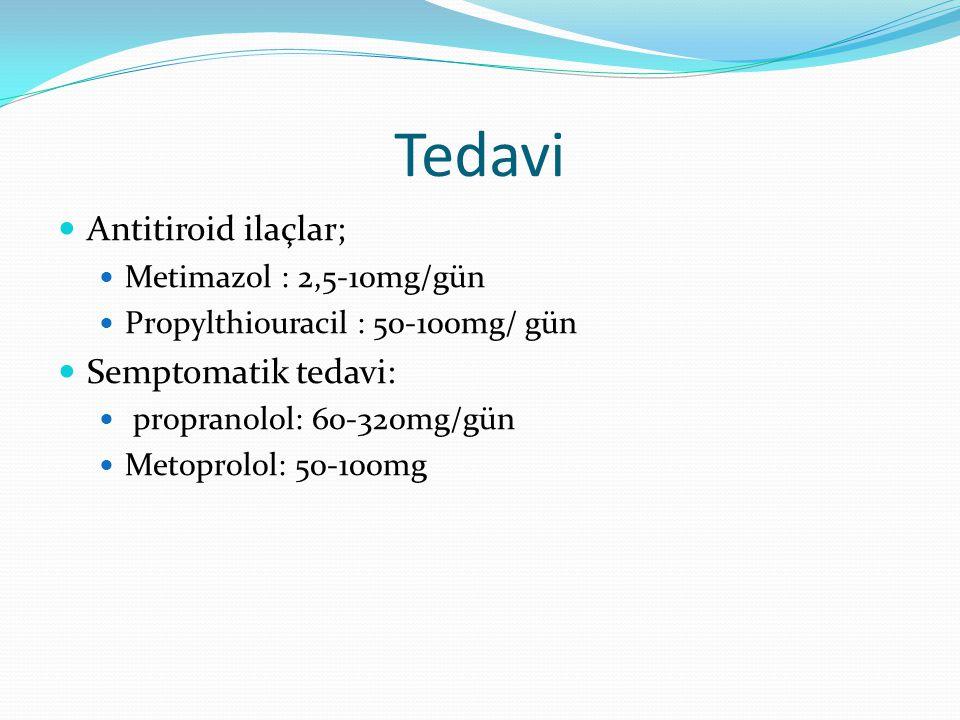 Tedavi Antitiroid ilaçlar; Semptomatik tedavi: