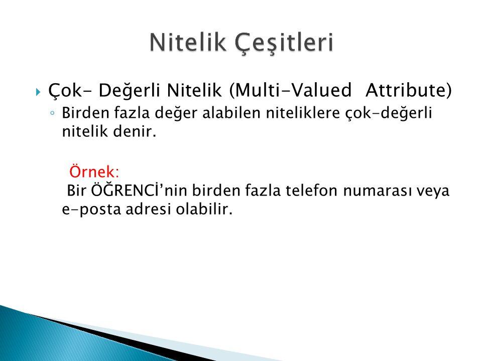 Nitelik Çeşitleri Çok- Değerli Nitelik (Multi-Valued Attribute)