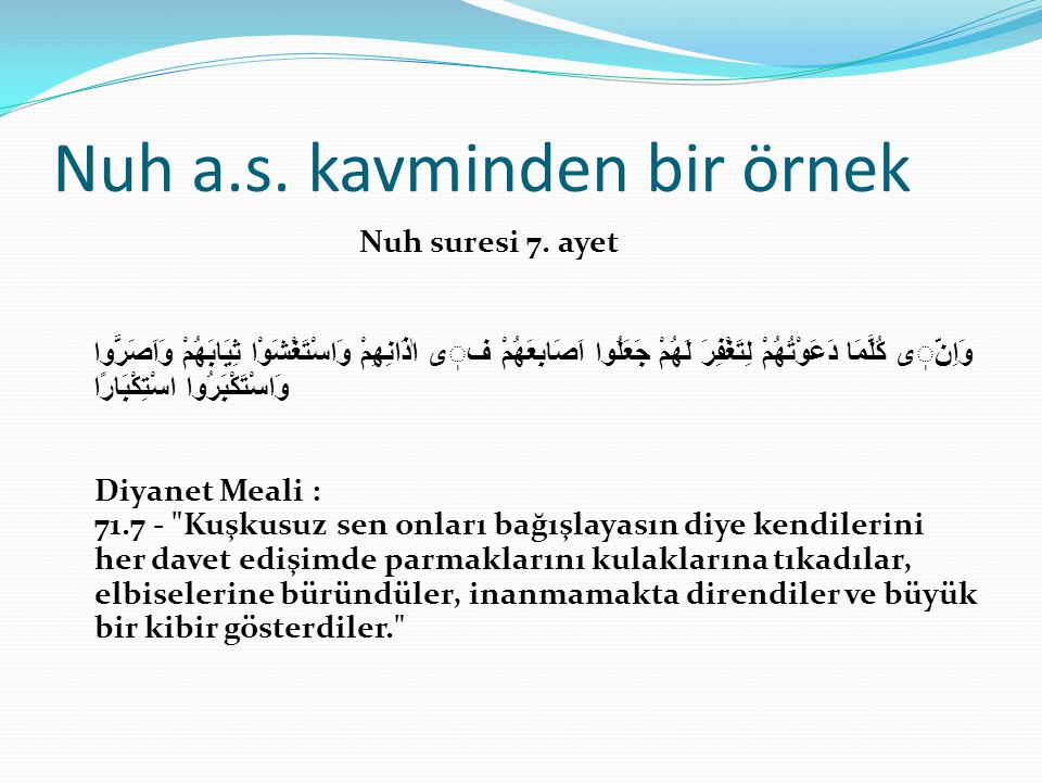 Nuh a.s. kavminden bir örnek