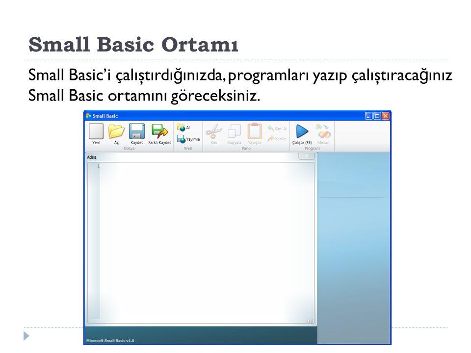Small Basic Ortamı Small Basic'i çalıştırdığınızda, programları yazıp çalıştıracağınız Small Basic ortamını göreceksiniz.