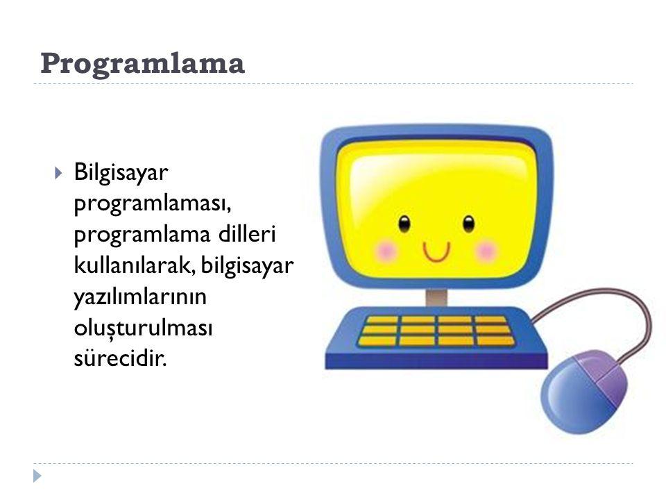 Programlama Bilgisayar programlaması, programlama dilleri kullanılarak, bilgisayar yazılımlarının oluşturulması sürecidir.
