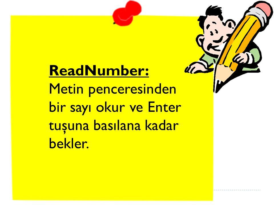 ReadNumber: Metin penceresinden bir sayı okur ve Enter tuşuna basılana kadar bekler.