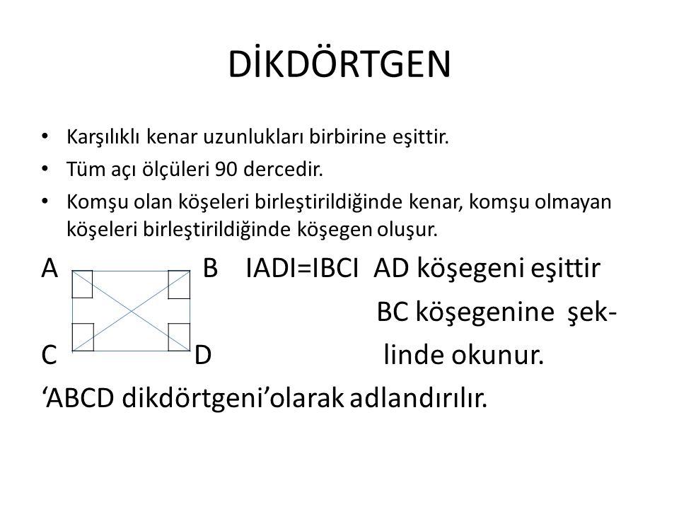 DİKDÖRTGEN A B IADI=IBCI AD köşegeni eşittir BC köşegenine şek-