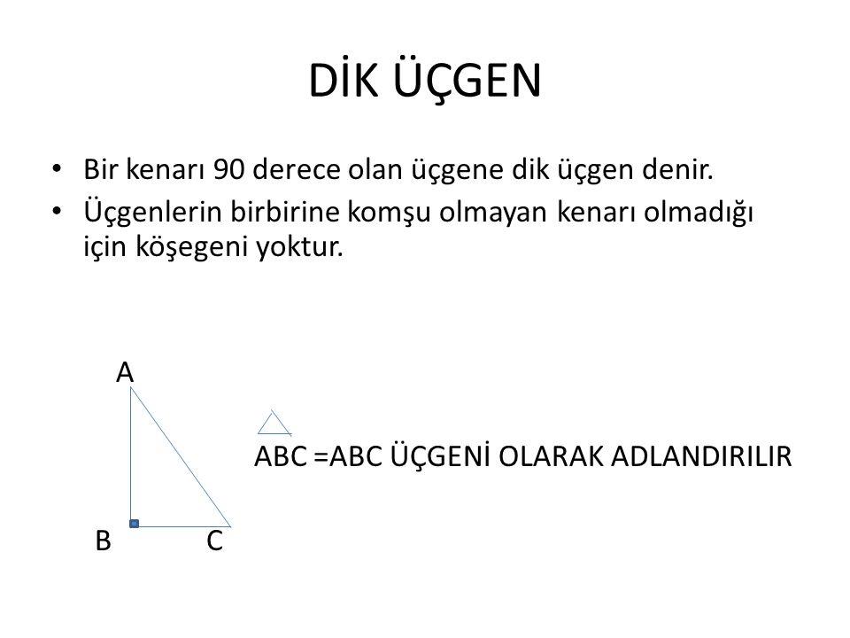 DİK ÜÇGEN Bir kenarı 90 derece olan üçgene dik üçgen denir.
