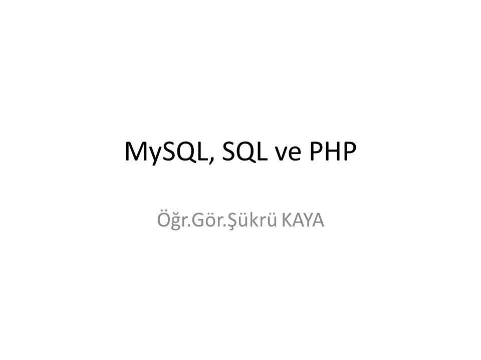 MySQL, SQL ve PHP Öğr.Gör.Şükrü KAYA
