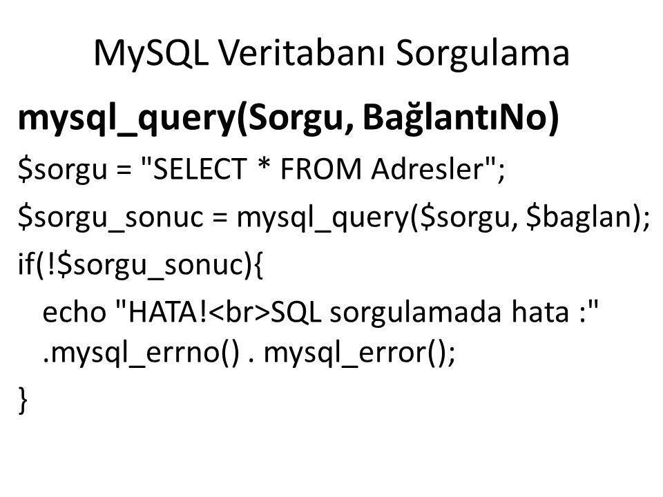 MySQL Veritabanı Sorgulama