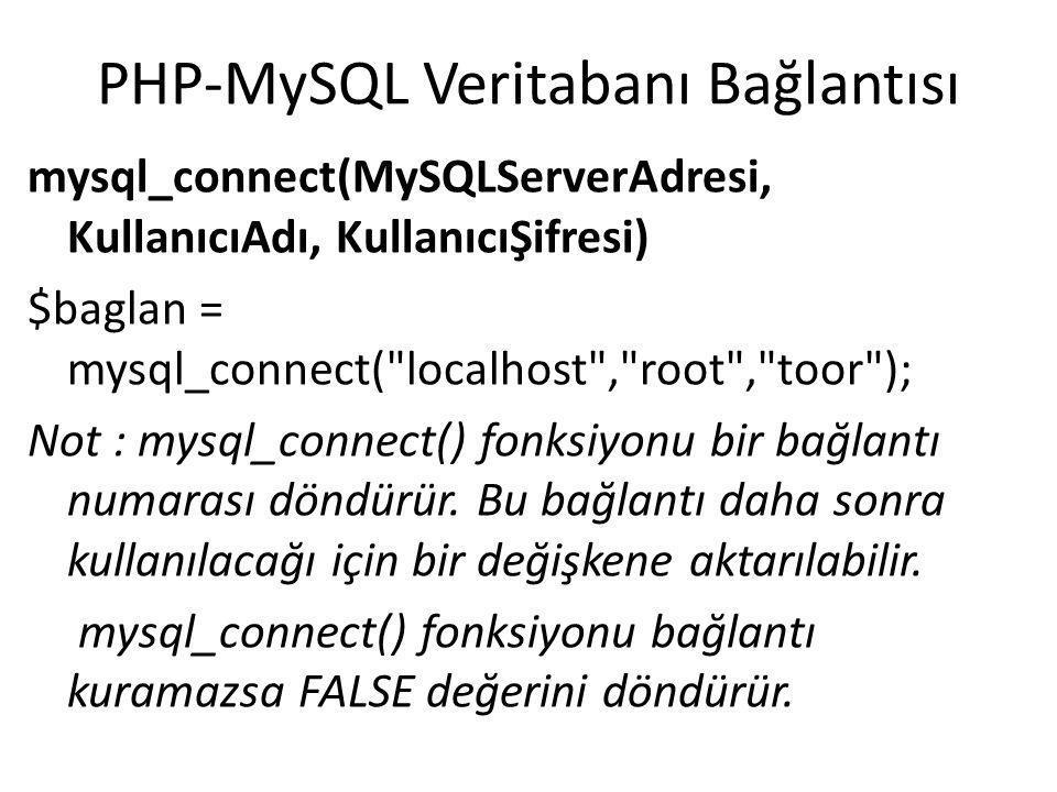 PHP-MySQL Veritabanı Bağlantısı