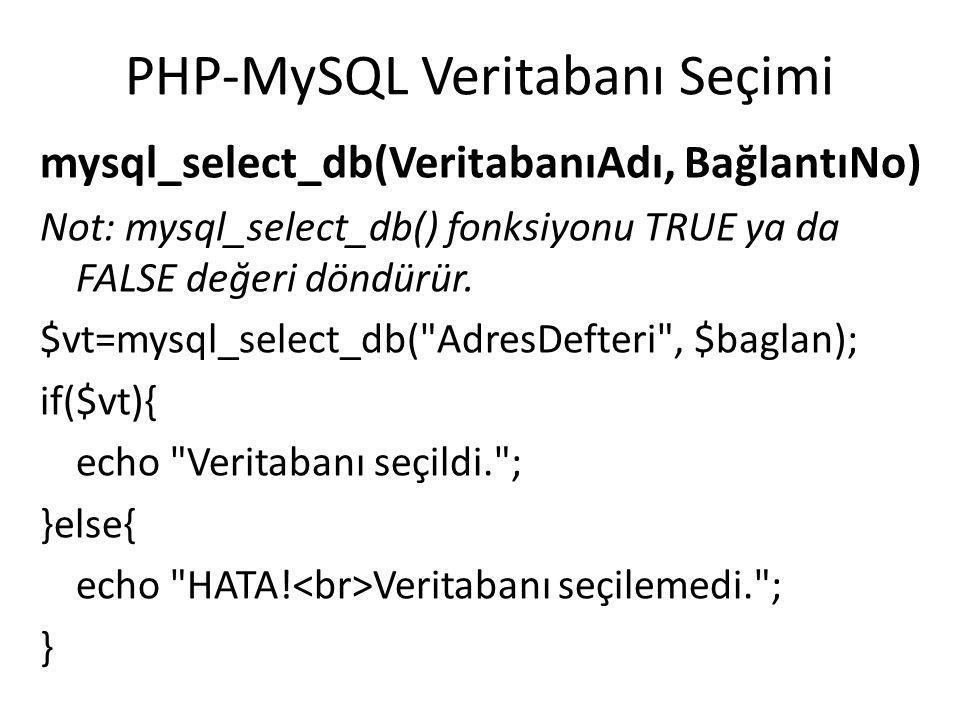 PHP-MySQL Veritabanı Seçimi