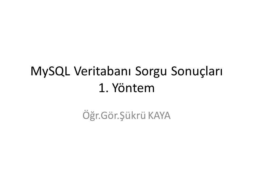 MySQL Veritabanı Sorgu Sonuçları 1. Yöntem