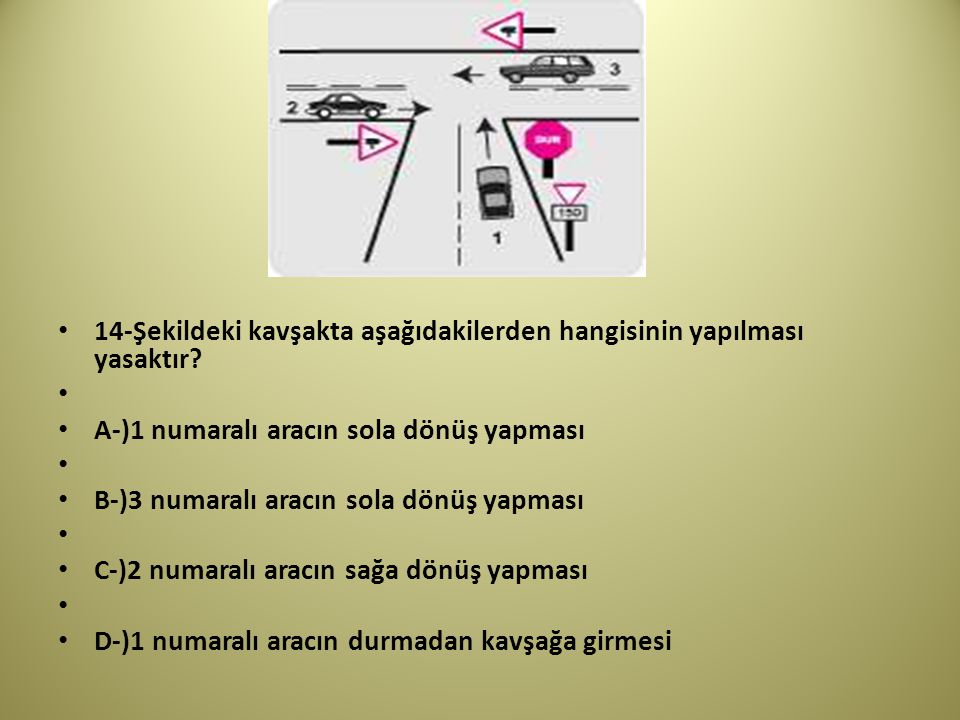14-Şekildeki kavşakta aşağıdakilerden hangisinin yapılması yasaktır