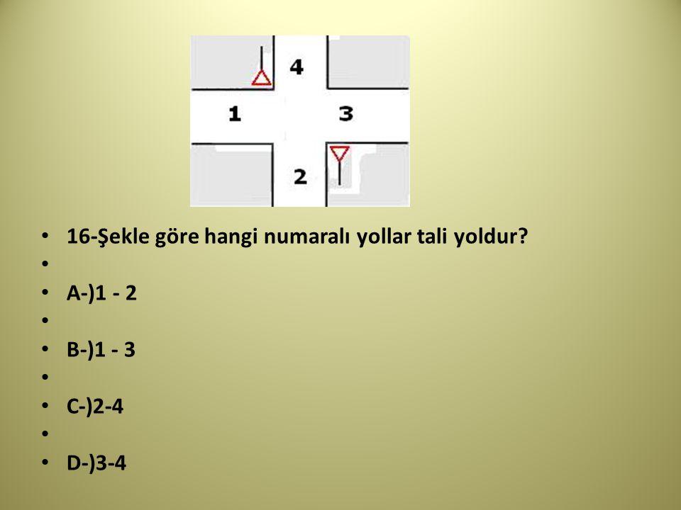 16-Şekle göre hangi numaralı yollar tali yoldur
