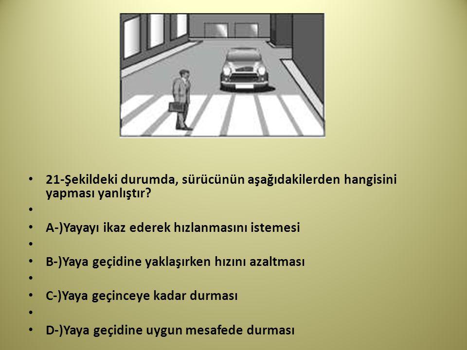 21-Şekildeki durumda, sürücünün aşağıdakilerden hangisini yapması yanlıştır