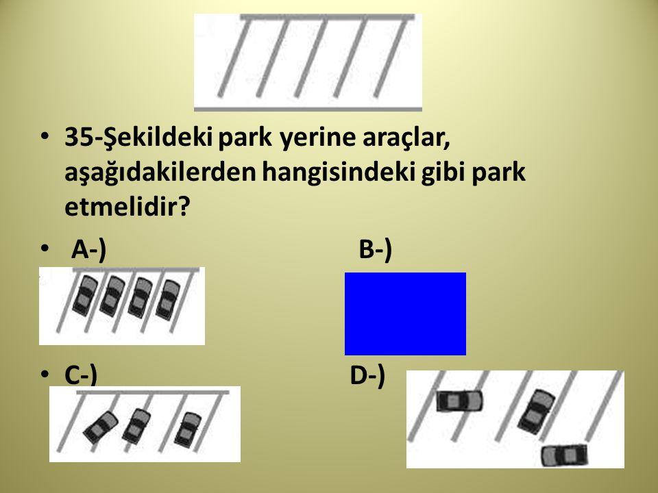 35-Şekildeki park yerine araçlar, aşağıdakilerden hangisindeki gibi park etmelidir