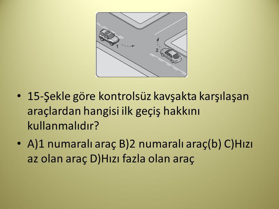 15-Şekle göre kontrolsüz kavşakta karşılaşan araçlardan hangisi ilk geçiş hakkını kullanmalıdır