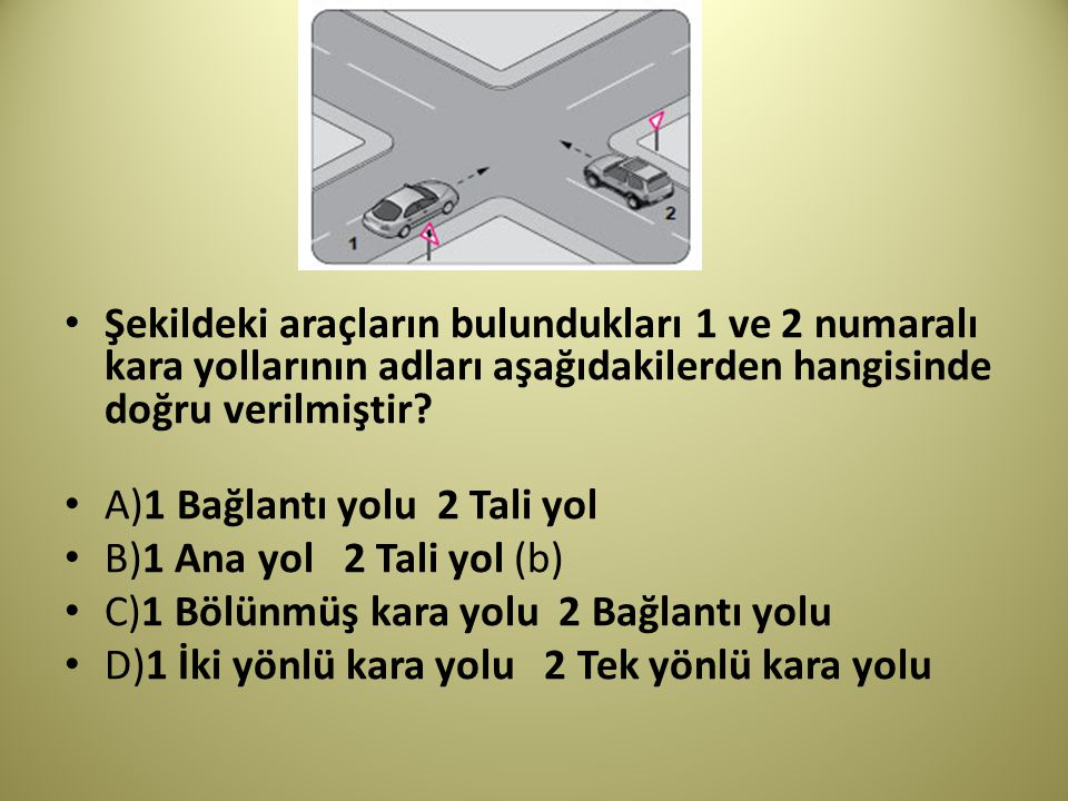 Şekildeki araçların bulundukları 1 ve 2 numaralı kara yollarının adları aşağıdakilerden hangisinde doğru verilmiştir
