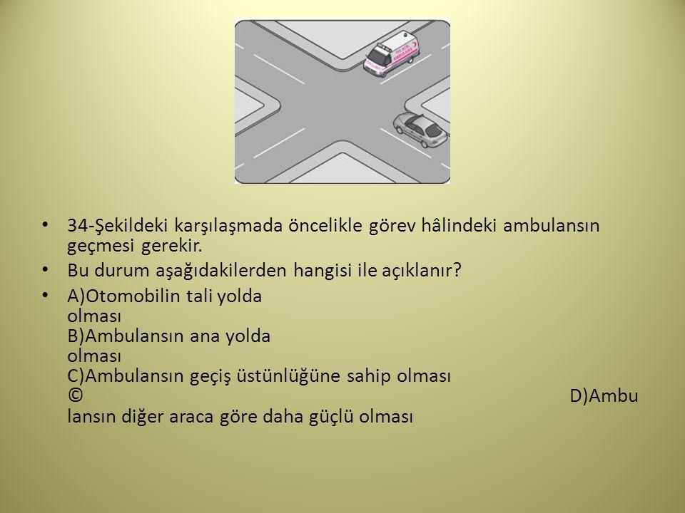 34-Şekildeki karşılaşmada öncelikle görev hâlindeki ambulansın geçmesi gerekir.