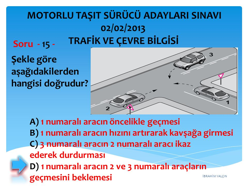 MOTORLU TAŞIT SÜRÜCÜ ADAYLARI SINAVI 02/02/2013