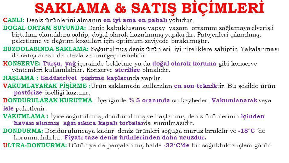 SAKLAMA & SATIŞ BİÇİMLERİ