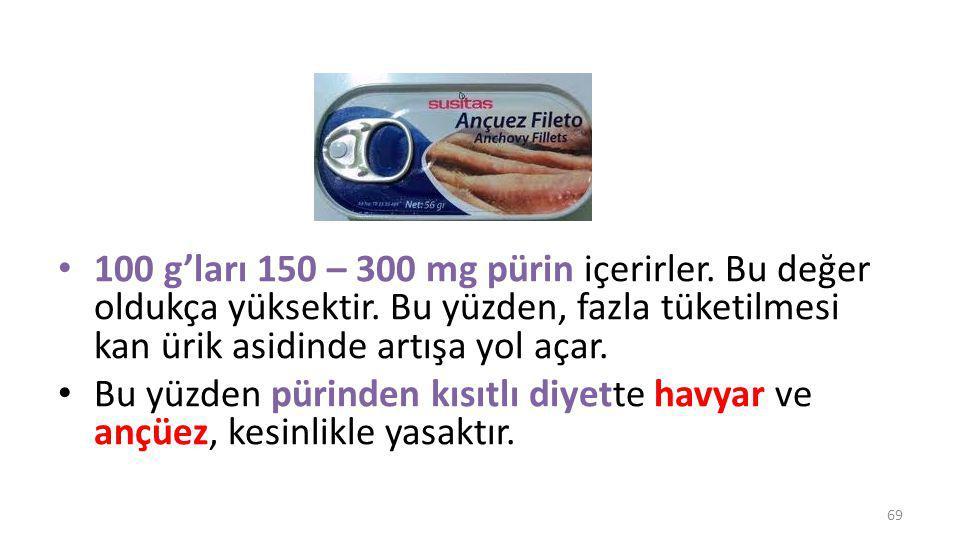 100 g'ları 150 – 300 mg pürin içerirler. Bu değer oldukça yüksektir
