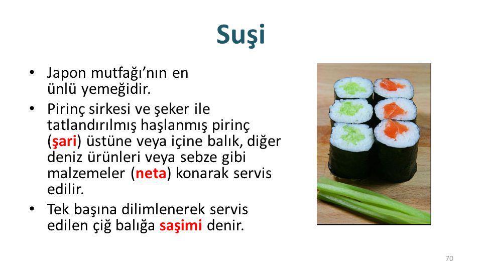 Suşi Japon mutfağı'nın en ünlü yemeğidir.