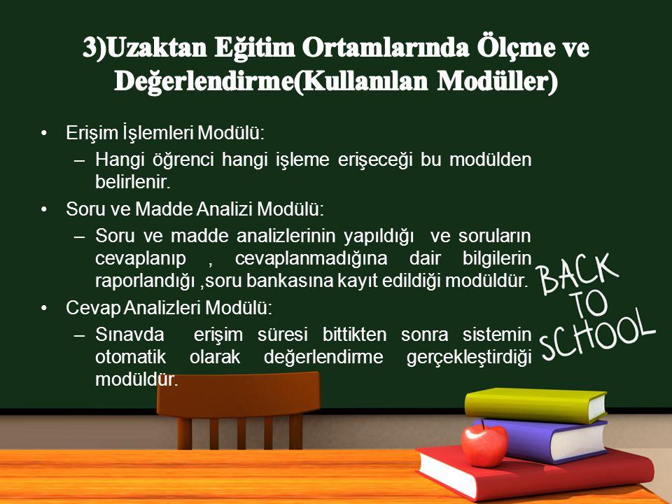 3)Uzaktan Eğitim Ortamlarında Ölçme ve Değerlendirme(Kullanılan Modüller)