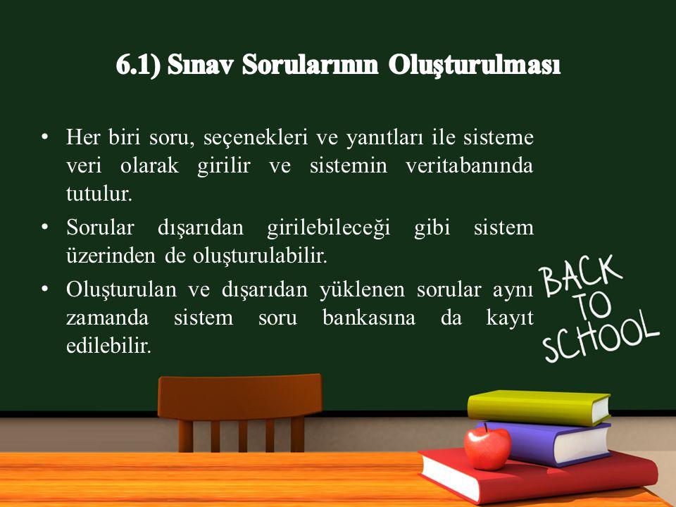 6.1) Sınav Sorularının Oluşturulması