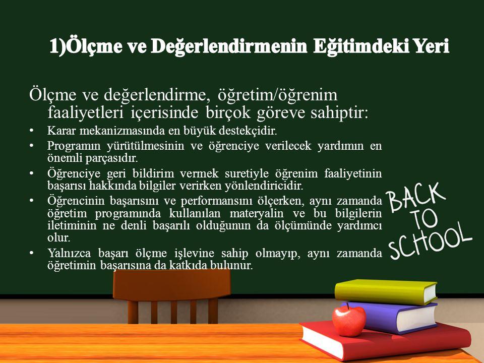 1)Ölçme ve Değerlendirmenin Eğitimdeki Yeri