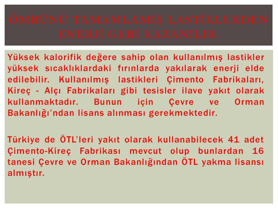 ÖMRÜNÜ TAMAMLAMIŞ LASTİKLERDEN ENERJİ GERİ KAZANILIR.