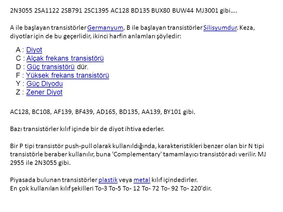 2N3055 2SA1122 2SB791 2SC1395 AC128 BD135 BUX80 BUW44 MJ3001 gibi….