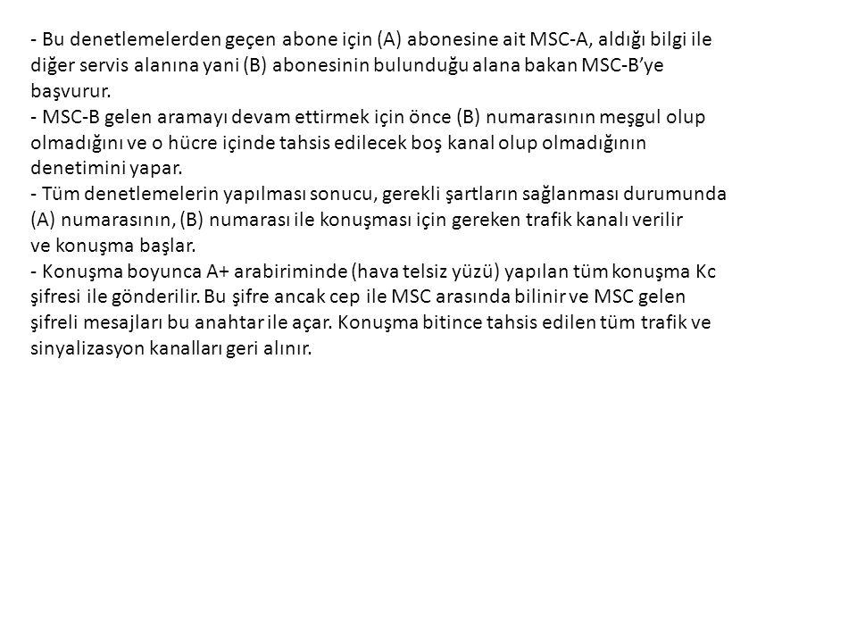 - Bu denetlemelerden geçen abone için (A) abonesine ait MSC-A, aldığı bilgi ile
