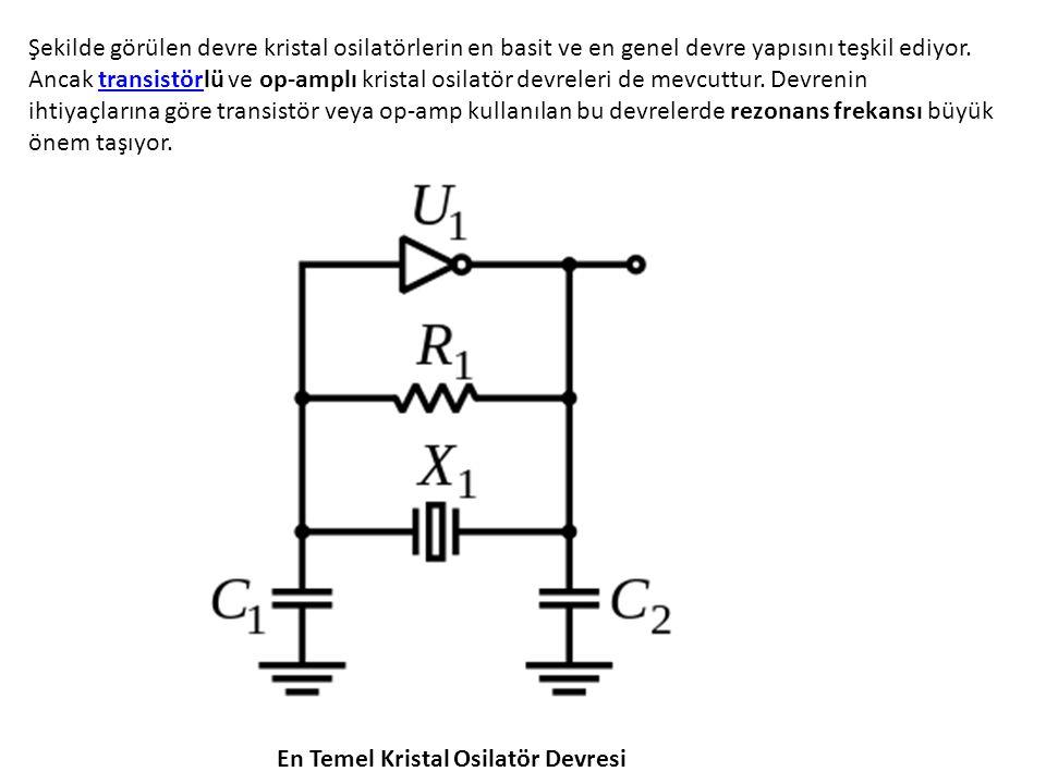 Şekilde görülen devre kristal osilatörlerin en basit ve en genel devre yapısını teşkil ediyor. Ancak transistörlü ve op-amplı kristal osilatör devreleri de mevcuttur. Devrenin ihtiyaçlarına göre transistör veya op-amp kullanılan bu devrelerde rezonans frekansı büyük önem taşıyor.