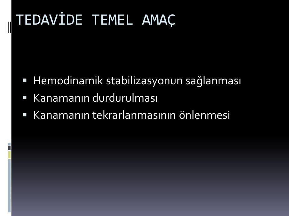 TEDAVİDE TEMEL AMAÇ Hemodinamik stabilizasyonun sağlanması
