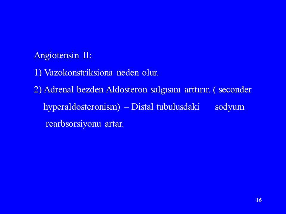 Angiotensin II: 1) Vazokonstriksiona neden olur. 2) Adrenal bezden Aldosteron salgısını arttırır. ( seconder.
