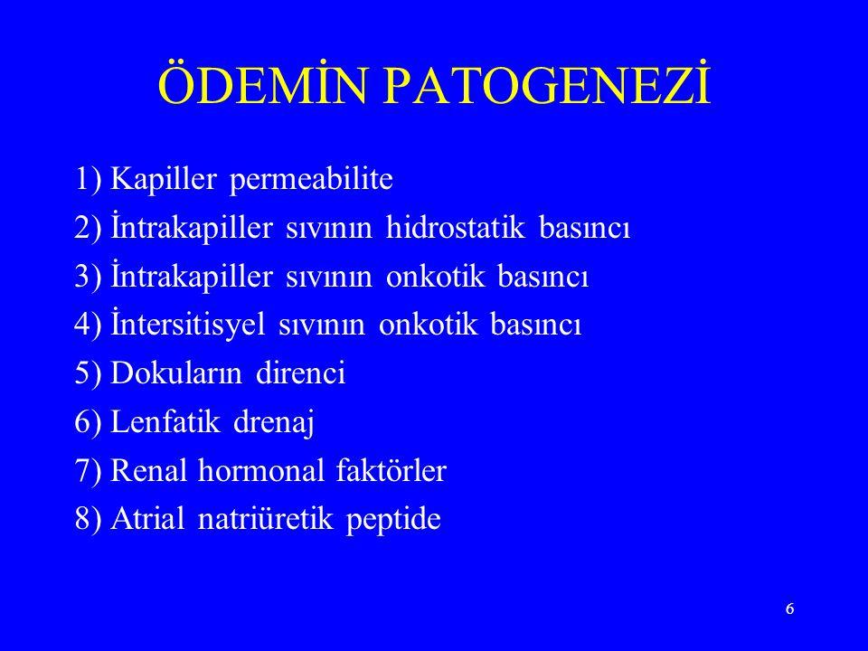 ÖDEMİN PATOGENEZİ 1) Kapiller permeabilite
