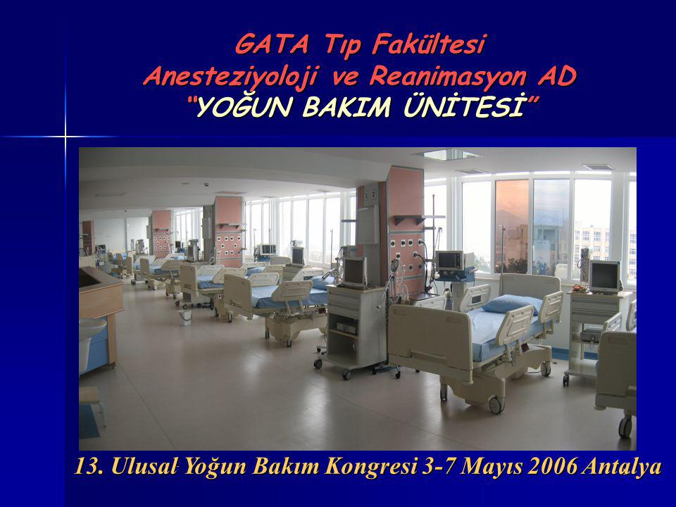 GATA Tıp Fakültesi Anesteziyoloji ve Reanimasyon AD YOĞUN BAKIM ÜNİTESİ