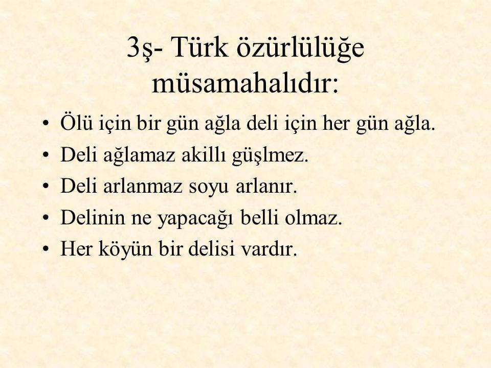 3ş- Türk özürlülüğe müsamahalıdır: