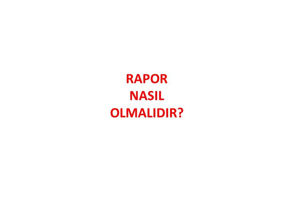 RAPOR NASIL OLMALIDIR