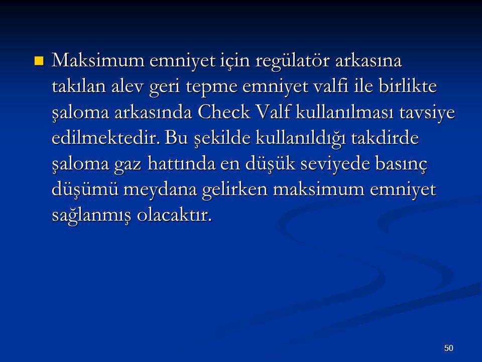 Maksimum emniyet için regülatör arkasına takılan alev geri tepme emniyet valfi ile birlikte şaloma arkasında Check Valf kullanılması tavsiye edilmektedir.