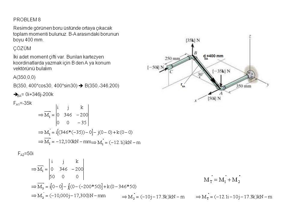PROBLEM 8 Resimde görünen boru üstünde ortaya çıkacak toplam momenti bulunuz. B-A arasındaki borunun boyu 400 mm.