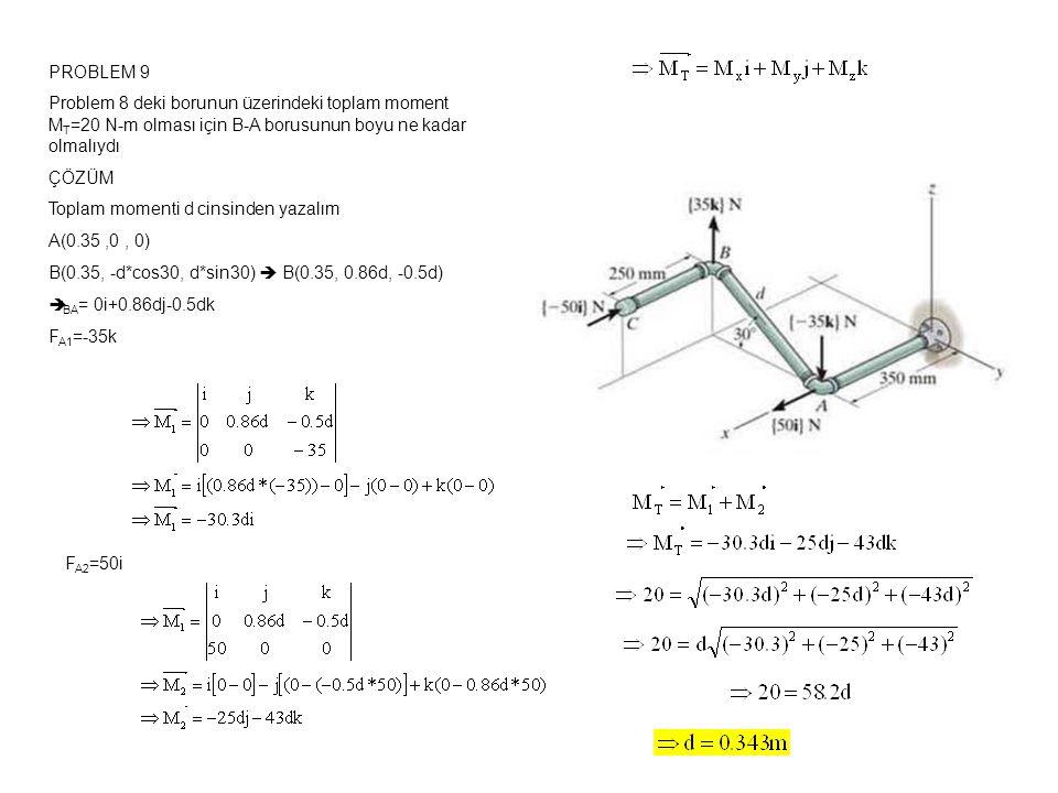 PROBLEM 9 Problem 8 deki borunun üzerindeki toplam moment MT=20 N-m olması için B-A borusunun boyu ne kadar olmalıydı.