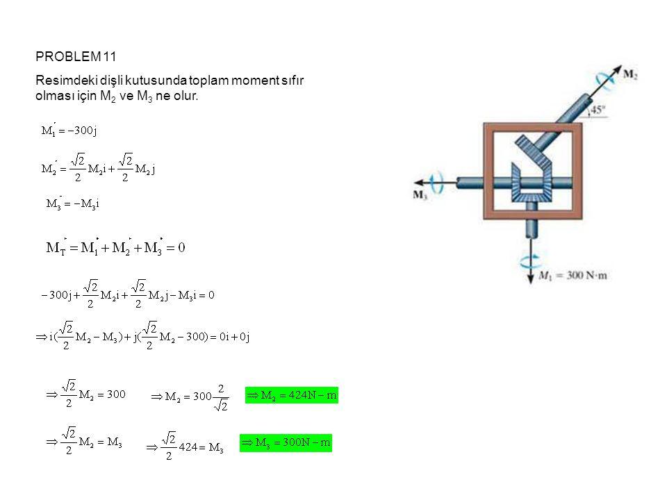 PROBLEM 11 Resimdeki dişli kutusunda toplam moment sıfır olması için M2 ve M3 ne olur.