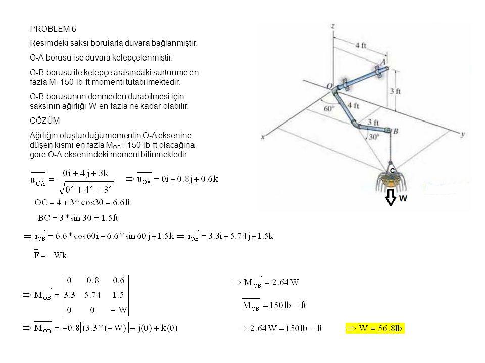 PROBLEM 6 Resimdeki saksı borularla duvara bağlanmıştır. O-A borusu ise duvara kelepçelenmiştir.