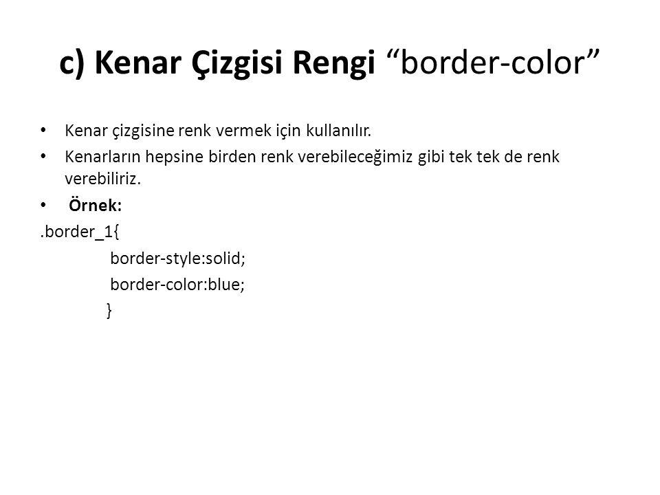 c) Kenar Çizgisi Rengi border-color