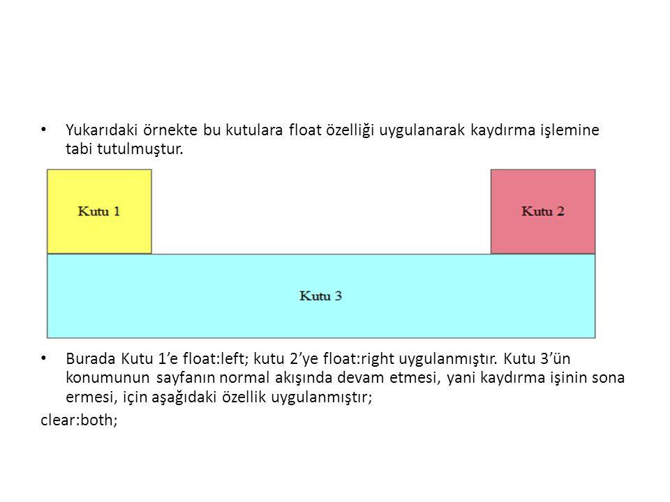 Yukarıdaki örnekte bu kutulara float özelliği uygulanarak kaydırma işlemine tabi tutulmuştur.