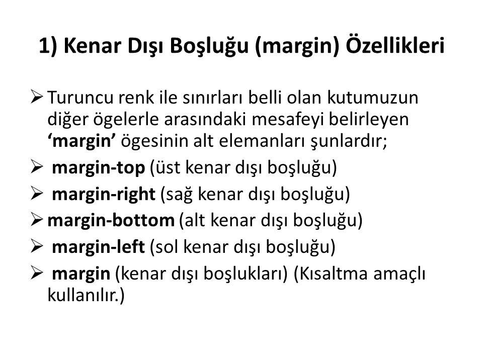 1) Kenar Dışı Boşluğu (margin) Özellikleri