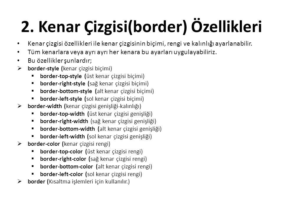 2. Kenar Çizgisi(border) Özellikleri