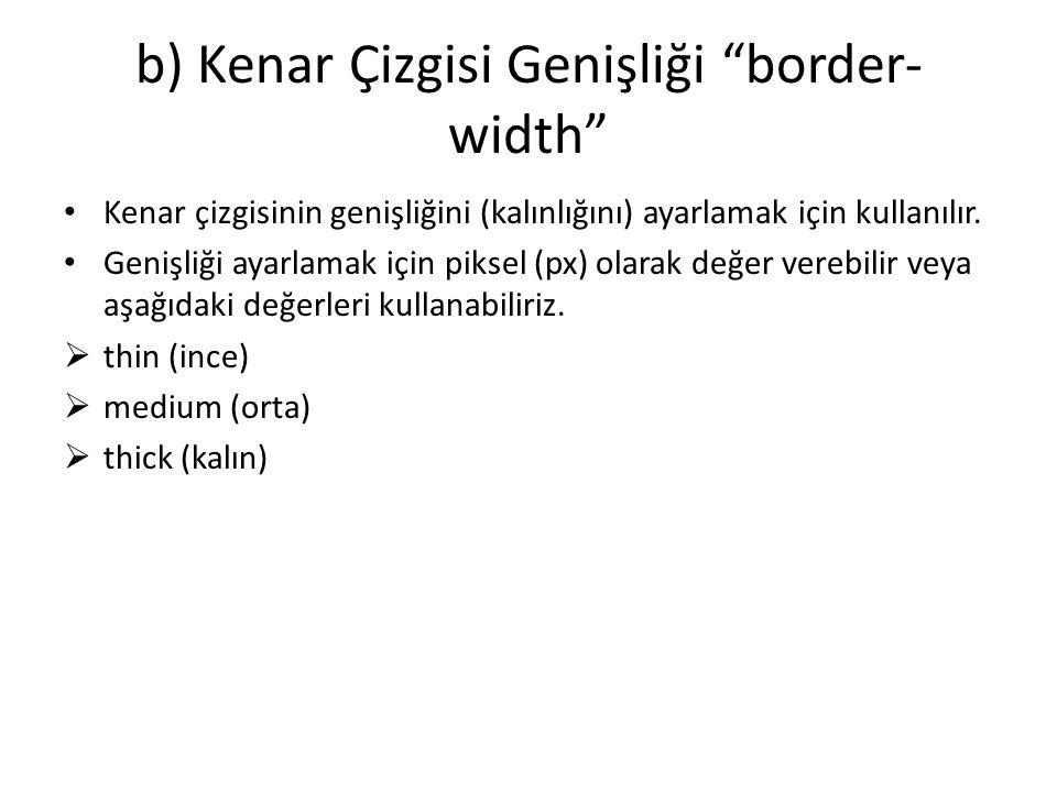b) Kenar Çizgisi Genişliği border-width