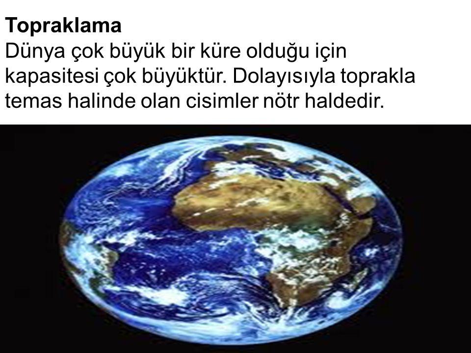 Topraklama Dünya çok büyük bir küre olduğu için kapasitesi çok büyüktür.