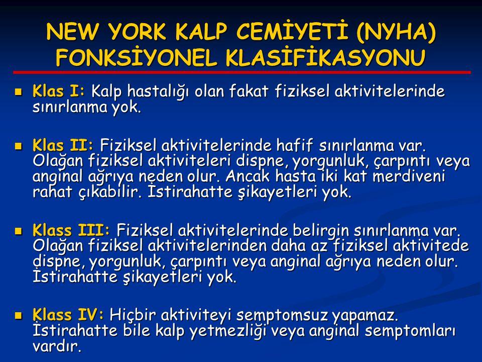 NEW YORK KALP CEMİYETİ (NYHA) FONKSİYONEL KLASİFİKASYONU